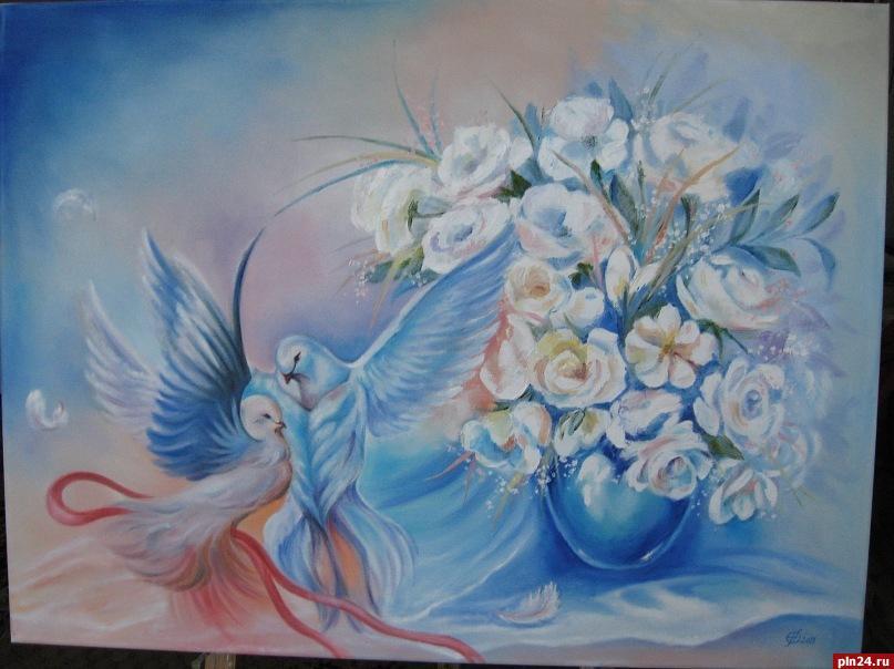 К марта в ГКЦ в Пскове открывается выставка островских художниц  По ее словам когда семья переехала в город Остров маме подарили первые масленые краски и она начала писать картины маслом А когда мы подросли