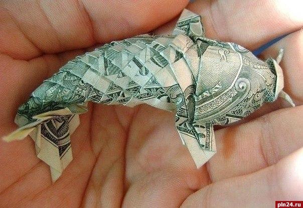 Как сделать рыбу из купюры