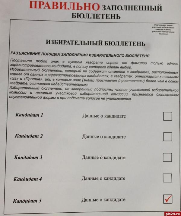образец бюллетень для голосования