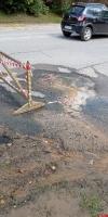Прорыв водоразборной колонки произошел в Пушкинских Горах на пересечении улиц Михайлова и Новоржевской